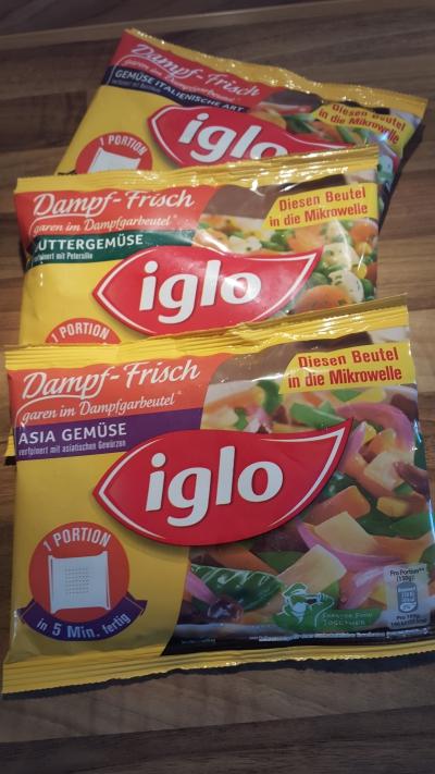 Drei Sorten des neuen Iglo Dampf-Frisch Gemüse