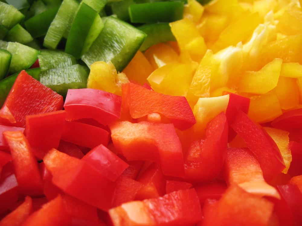 Paprika klein geschnitten