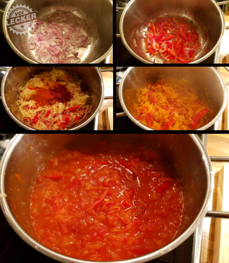 Kochvorgang der Sauerkrautsuppe