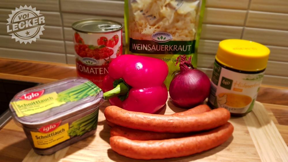 Zutaten für Sauerkrautsuppe