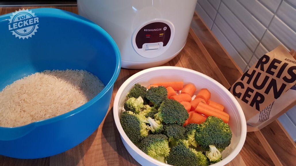 Basmati Reis, Reiskocher und Gemüse