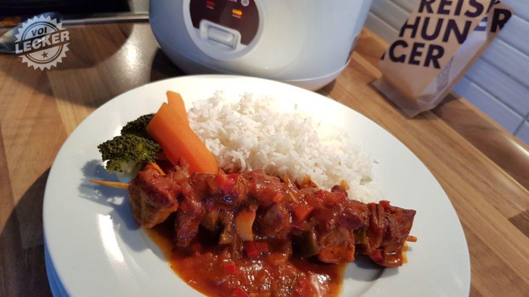 Schaschlik mit Reis und Gemüse