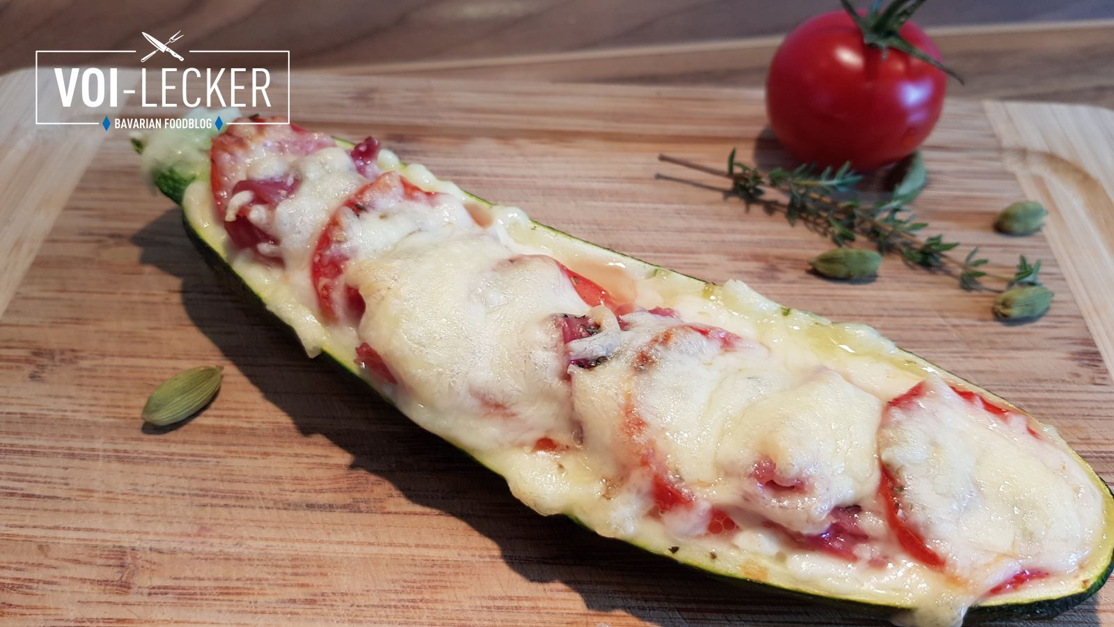 gebackene Zucchini Pizza
